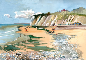"""Hot Summer, Dumpton Gap, Broadstairs. Beach & Chalk Cliffs"""