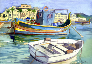 """Fishing Boats at Marsaxlokk, Malta"""