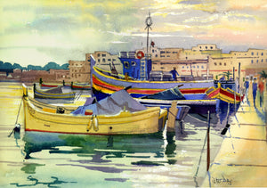 """Malta, Marsaxlokk. Fishing Village and Boats"""