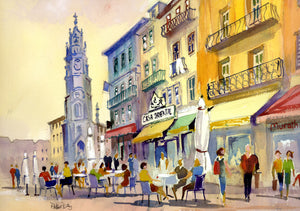 """Clerics Tower and Cafe Scene - Porto, Portugal"""