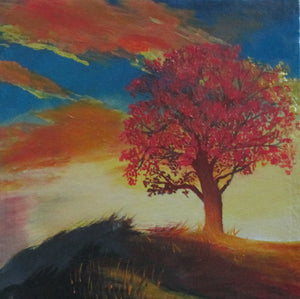 """Red Tree with Sunset View"""