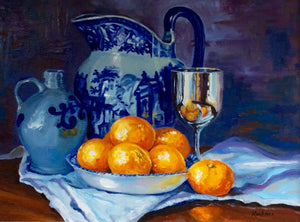 """Satsumas with Silver and Blue"""