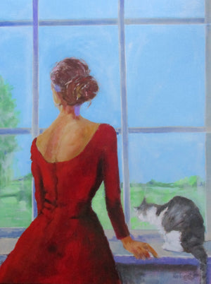 """Woman at the window  with Cat"""
