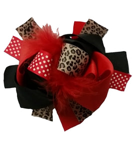 "4.5"" Boutique Bow- Red/Leopard"