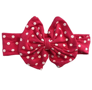 "4"" Boutique Bow Headband- Hot Pink & White Polka Dot"