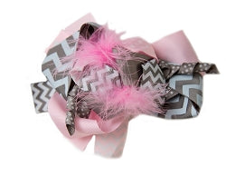 "5.5"" Feather Korker Bow- Pink & Grey"