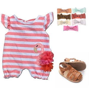 Infant Outfit - Peach Flamingo