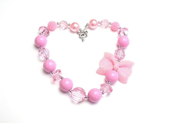 Kids Jewelry Necklace - Pink Bow