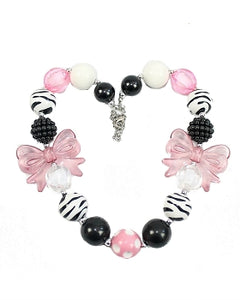 Kids Jewelry Necklace - Pink Bow Zebra Stripes