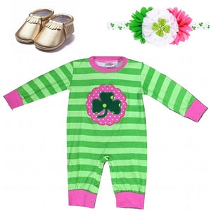 Lime, Green & Hot Pink Striped Clover Romper