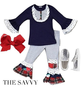 Navy, White & Red Plaid Ruffle Outfit -The Savvy
