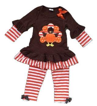 Orange & Chocolate Ruffle Turkey Outfit
