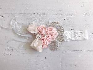 Pink Vintage Rosette Headband - The Cassidy