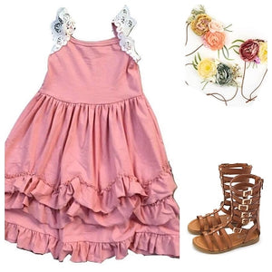 Pink & White Deluxe Ruffle Dress