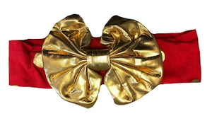 Red And Gold Headband Gold Bow