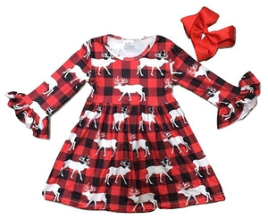 Red & Black Checkered Moose Dress