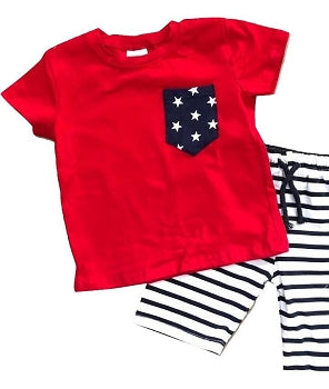 Red Star & Striped Shorts Outfit - Gender Neutral