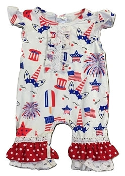 Red, White & Blue Unicorn INFANT Ruffle Outfit - The Ellie