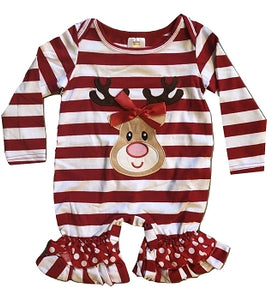 Red & White Striped Rudolph Infant Romper
