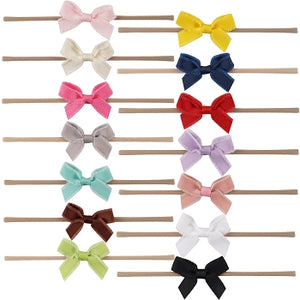 Ruffle Edge Nylon Bow Headband- The SKY