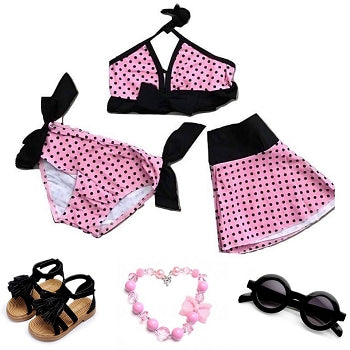 Swimsuit - Pink & Black Polka Dot
