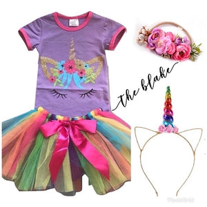 Unicorn Hand Tied Tutu Outfit - The Blake