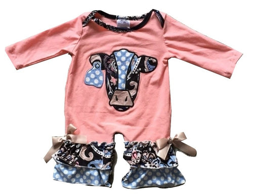 Coral Cow Infant Romper