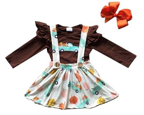 Fall Pumpkin Suspender Dress