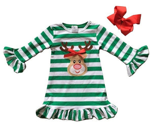 Green & White Striped Rudolph Dress