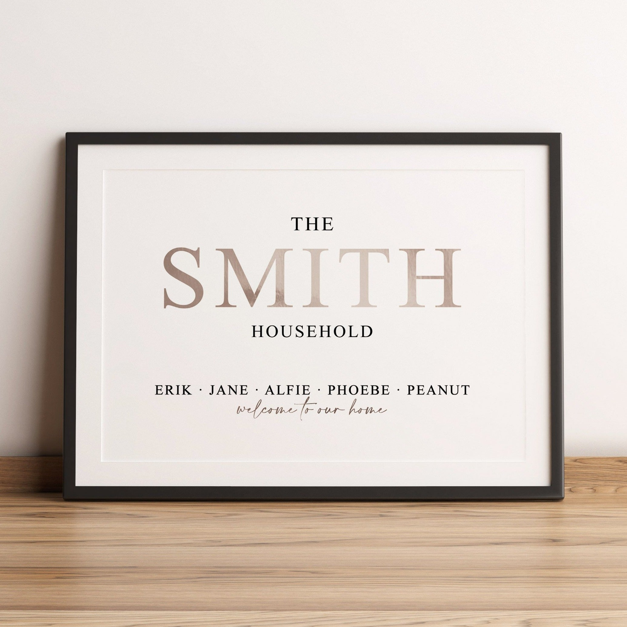 Family Names - Welcome to our home - Personalised foil print