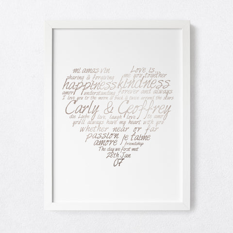 Love Heart Calligraphy - personalised foil print