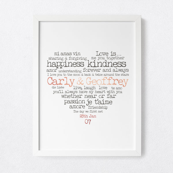 Love Heart Typewriter - Personalised foil print
