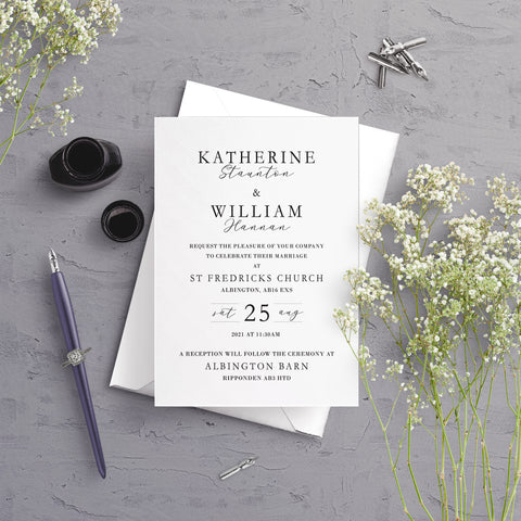 Anna Typography A5 Flat Wedding Invitation