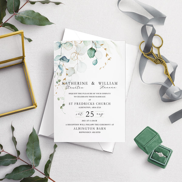 Dreamy Eucalyptus A5 Flat Wedding Invitation