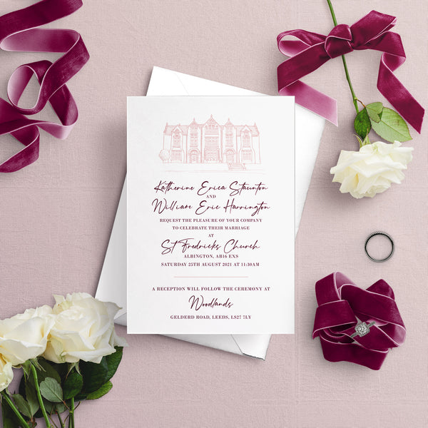 Woodlands Illustration A5 Flat Wedding Invitation