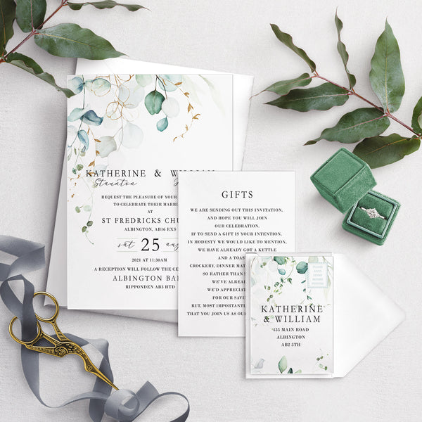 Dreamy Eucalyptus A5 Bundle Wedding Invitation