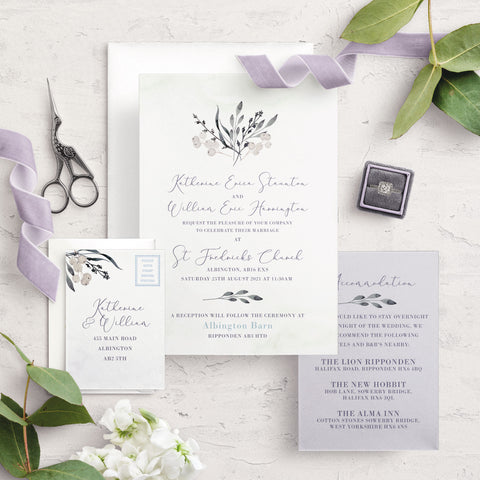Whiteberry Gardens A5 Bundle Wedding Invitation