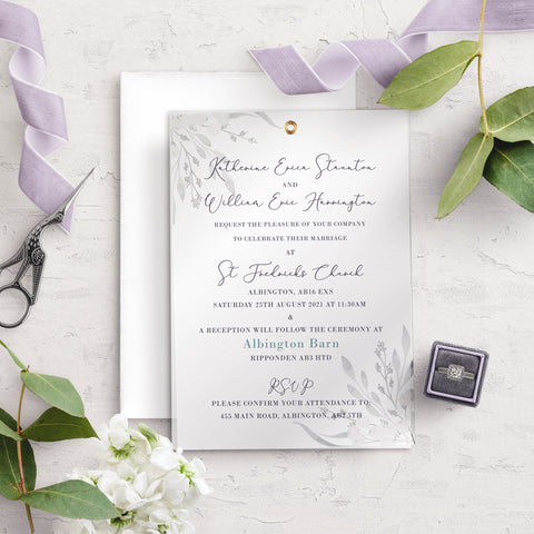 Whiteberry Gardens A5 Vellum Overlay Wedding Invitation