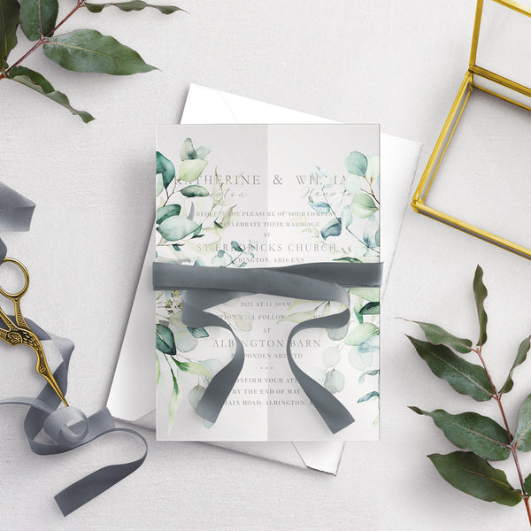 Dreamy Eucalyptus A5 Vellum Wrap Wedding Invitation