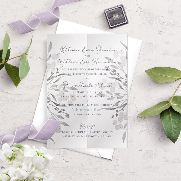 Whiteberry Gardens A5 Vellum Wrap Wedding Invitation