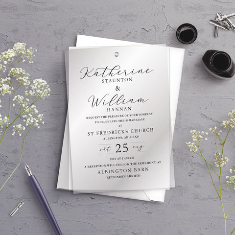 Anna Typography A5 Vellum Overlay Wedding Invitation