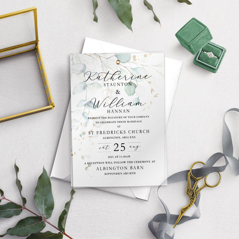 Dreamy Eucalyptus A5 Vellum Overlay Wedding Invitation