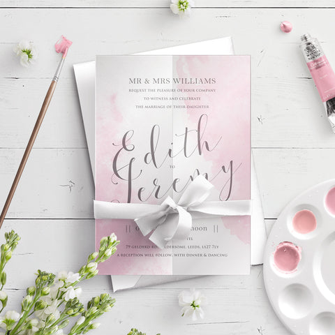 Watercolour A5 Vellum Wrap Wedding Invitation