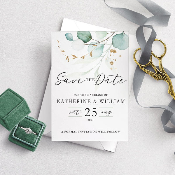 Dreamy Eucalyptus A6 Save the Date Postcard