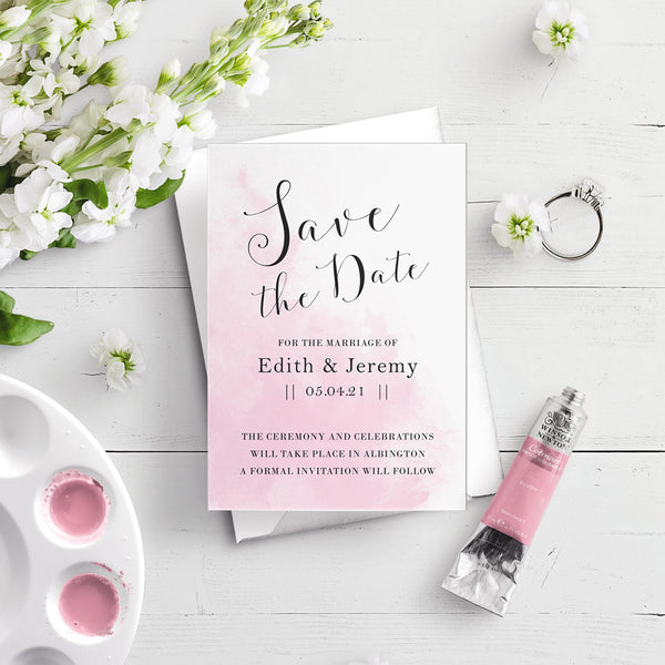 Watercolour A6 Save the Date Postcard