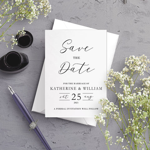 Anna Typography A6 Save the Date Postcard