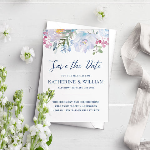 Ainsley Blue Flora A6 Save the Date Postcard