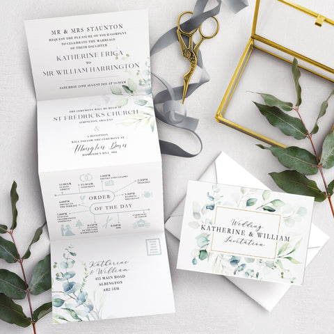 Dreamy Eucalyptus Concertina Wedding Invitation