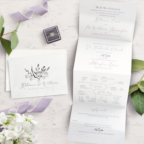 Whiteberry Gardens Concertina Wedding Invitation