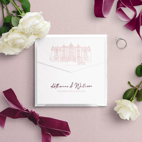 Woodlands Illustration Envelope Fold Wedding Invitation